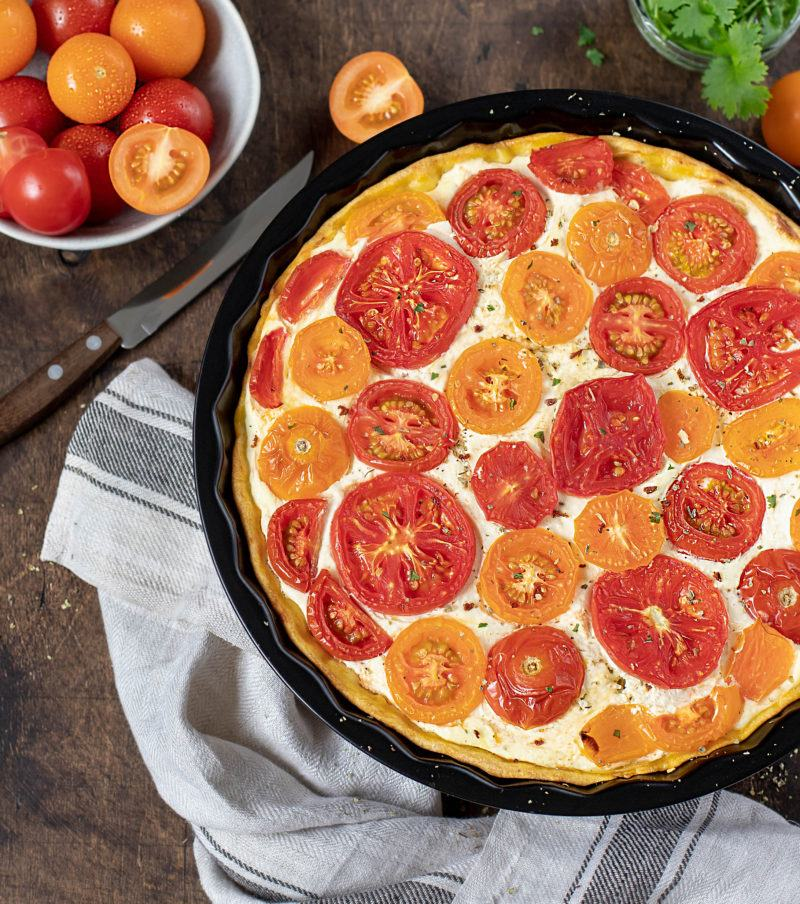 homemade pie with tomatoes and ricotta