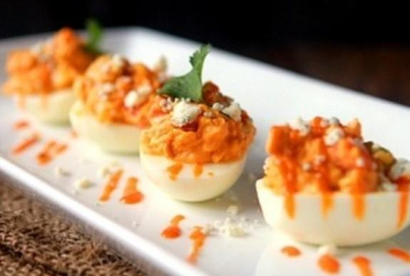 how to make Buffalo Blue Cheese Deviled Eggs