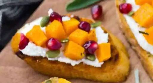 how to make Pomegranate and Roasted Butternut Squash Crostini