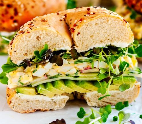 Avocado, Red Onion and Cream Cheese Bagel Sandwich