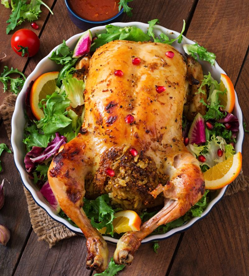how to cook Roasted Chicken with Rice Stuffing
