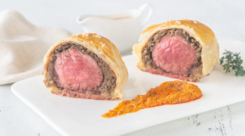 Portion of beef Wellington