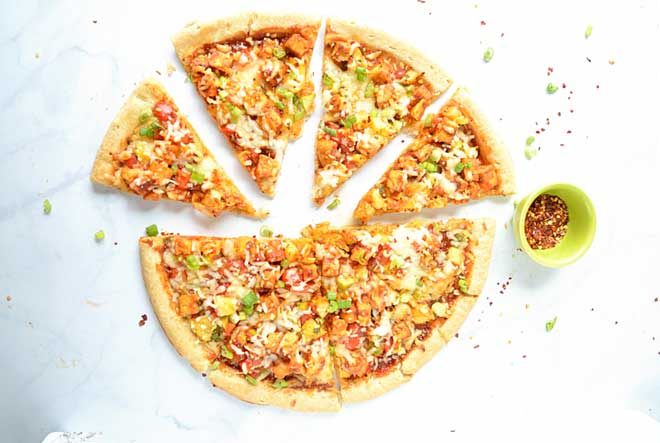 simple Sweet and Spicy Tofu Pizza